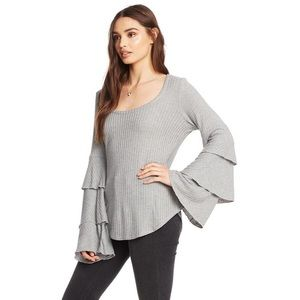 Chaser Scoop Neck Ruffle Sleeve Shirttail Tee